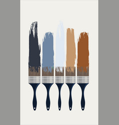 colorful paint brushes with the colors on a white vector image