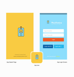 company id card splash screen and login page vector image