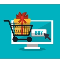 Computer and shopping online design vector