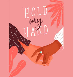 couple holding hands typography card vector image