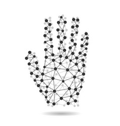 creative concept of the human hand from molecules vector image