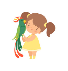 Cute girl with green parrot kid interacting with vector