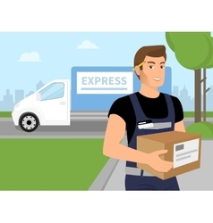 Delivery service man with a box in his hands vector image