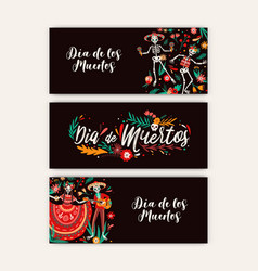dia de los angelitos party flyers set flat vector image
