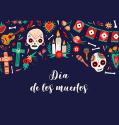 dia de los muertos banner template decorated vector image