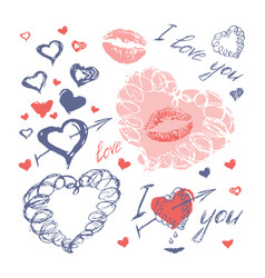 Doodle hearts arrows and lips valentines day vector