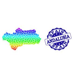 Dot spectrum map of andalusia province and grunge vector