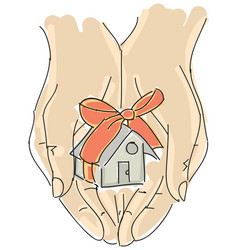 drawn humans hand holding house with ribbon vector image