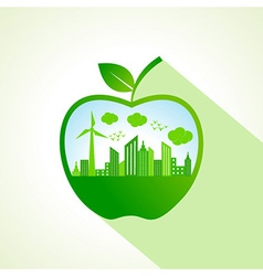 Ecology concept with apple stock vector