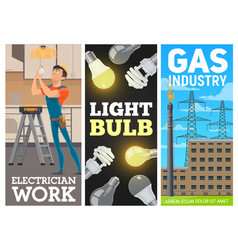 Electric energy production industry banner vector