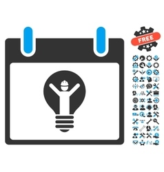 Electrician Calendar Day Icon With Bonus vector