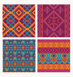 Ethnic tribal seamless patterns set vector