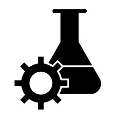 experiment research solid icon lab flask and gear vector image