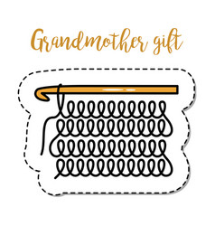 Fashion patch element grandmother knitting vector