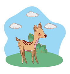 Fawn in outdoors landscape cartoon vector