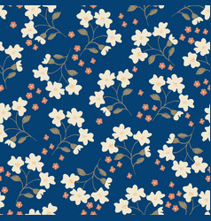 floral seamless pattern on dark blue background vector image