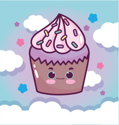 Food cute chocolate cupcake sky clouds stars vector