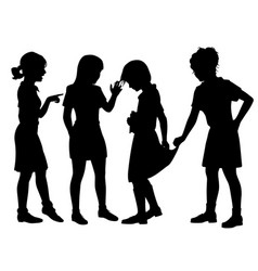 girl bullies silhouette vector image