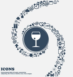 Glass of wine icon sign in the center Around the vector