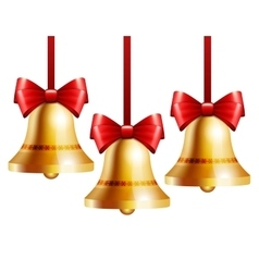 Golden bells with a red bow vector