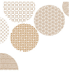 Golden circles with different geometric patterns vector