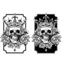 Graphic skull with crossed bones and crown set vector
