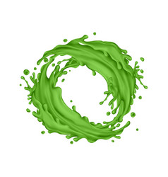 Green juice splashes circle on a white background vector