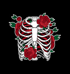 Hand drawn human ribs with flowers isolated vector