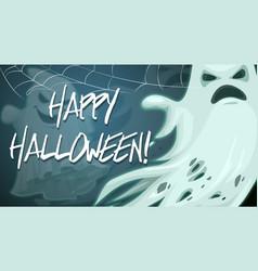 happy halloween ghost in spider web vector image