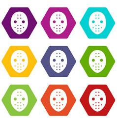 Hockey goalkeeper helmet icons set 9 vector