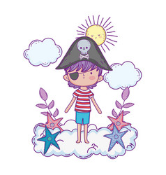 Little pirate in the clouds fairytale character vector