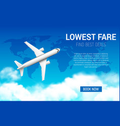 Lowest fare poster with realistic airplane vector