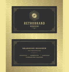 luxury business card and golden vintage ornament vector image