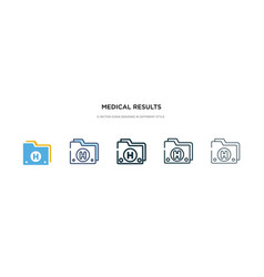 Medical results folders icon in different style vector