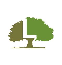 Oak tree letter l vector