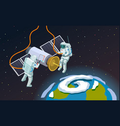 Outer space astronauts composition vector