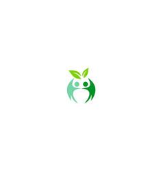 Partner green leaf organic logo vector