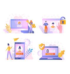 people register online set vector image