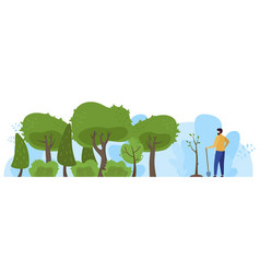 Plant tree in park male character save planet vector