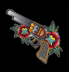 printvintage pistol flash tattoo vector image