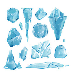 Realistic ice caps snowdrifts and icicles broken vector