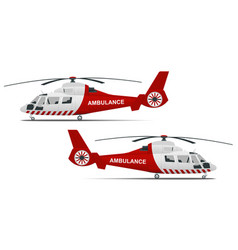 Rescue helicopter side view on a isolated white vector