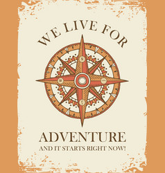 retro travel banner with wind rose and old compass vector image