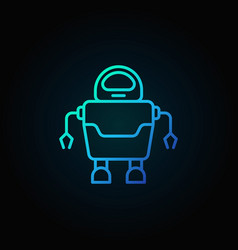 robot concept blue icon in thin line style on dark vector image