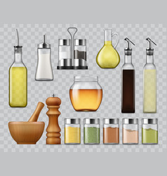 Salt and pepper shakers kitchen spices dispensers vector