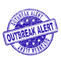 Scratched textured outbreak alert stamp seal vector