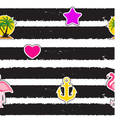 Seamless pattern with anchor heart flamingo and vector