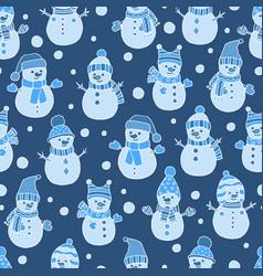 Seamless pattern with snowmen on dark blue vector