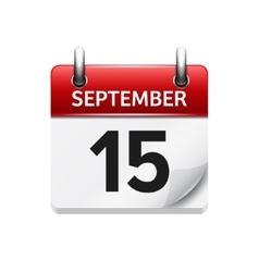 September 15 flat daily calendar icon vector