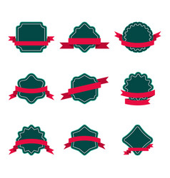 set of badge with ribbon vector image